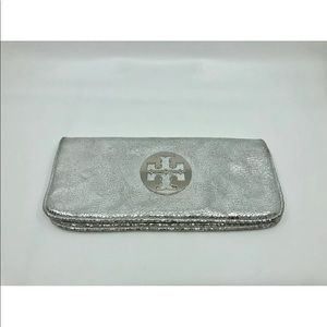 Tory Burch metallic silver clutch bag purse